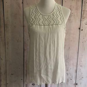Mossimo xxl white boho embroidered tank top